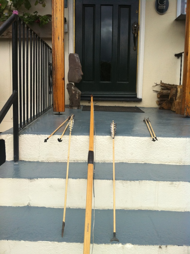 On left an armour-piercing ''broad-head''  home made. Right is a 'straight-flight- rope-cutter.