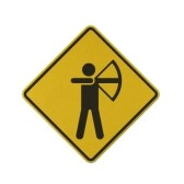 Archery-traffic-sign-recycled-paper-on-white-background